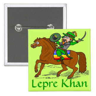 Funny Lepre Khan St Patrick s Day Button
