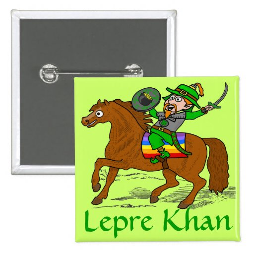 Funny Lepre Khan St Patrick's Day Button