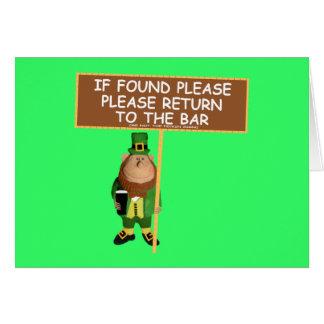 Funny leprechaun greeting card