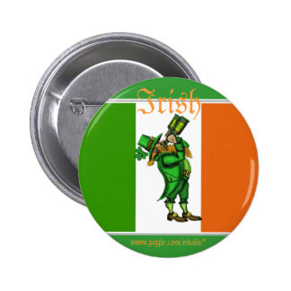 Funny leprechaun Irish flag St. Patrick day button