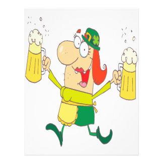 funny leprechaun lady serving beer custom flyer