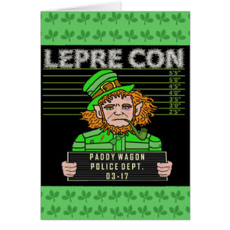 Funny Leprechaun Leprecon Mugshot Card