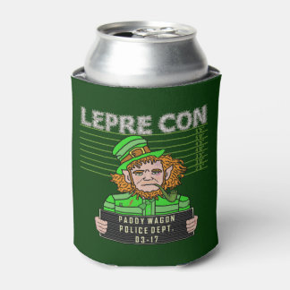 Funny Leprechaun Leprecon Mugshot St Patrick's Day Can Cooler