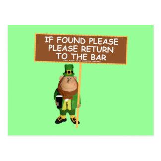 Funny leprechaun postcard