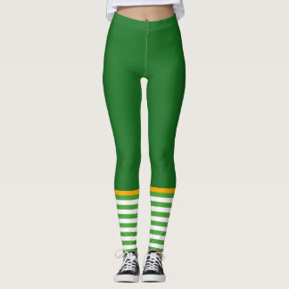 Funny Leprechaun St. Patrick's Day Green Striped Leggings