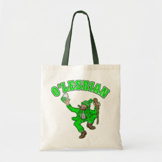 Funny Lesbian St. Patrick's Day Gift Budget Tote Bag