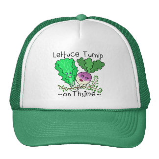 Funny Lettuce Turnip Thyme Vegetable Pun Cartoon Cap