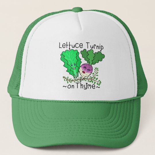 Funny Lettuce Turnip Thyme Vegetable Pun Cartoon Trucker