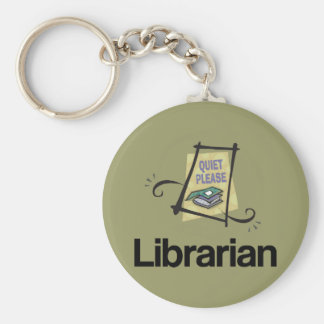 Funny Librarian Quiet Please Library Gift Basic Round Button Key Ring