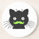 FUNNY LIME GREEN MUSTACHE VINTAGE BLACK CAT BEVERAGE COASTER