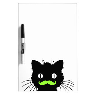FUNNY LIME GREEN MUSTACHE VINTAGE BLACK CAT DRY ERASE BOARD