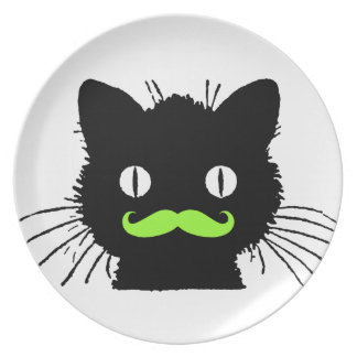 FUNNY LIME GREEN MUSTACHE VINTAGE BLACK CAT PLATE