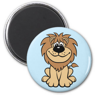 Funny Lion 6 Cm Round Magnet