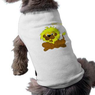 Funny lion illustration sleeveless dog shirt
