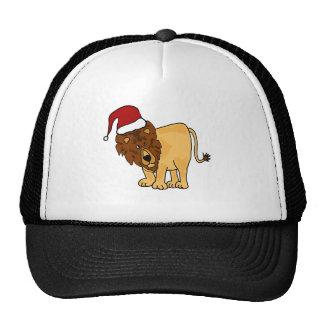 Funny Lion in Santa Hat Christmas Cartoon