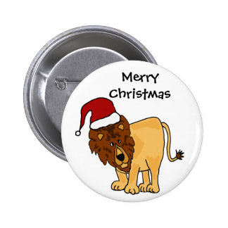 Funny Lion in Santa Hat Christmas Cartoon 6 Cm Round Badge