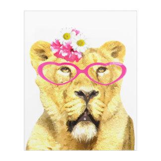 Funny lioness jungle animal watercolor acrylic print