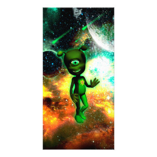 Funny little alien personalised photo card