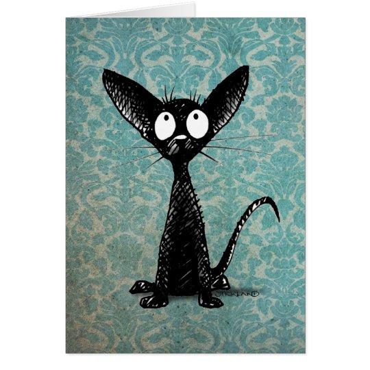 Funny Little Black Cat on Vintage Blue Damask