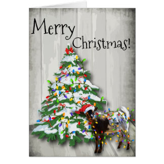 Funny Little Christmas Goat Greeting Card