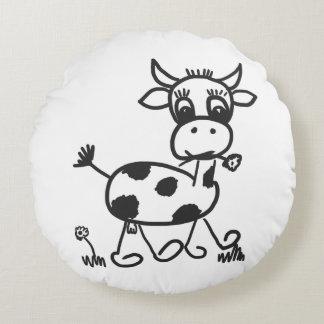 Funny Little Cow - Dekokissen approximately, black Round Cushion