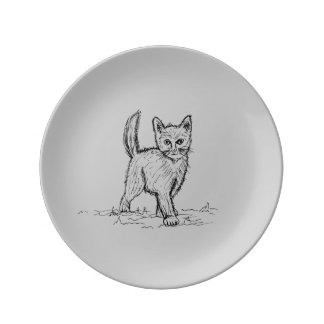 Funny Little Cute Cat Drawing Porcelain Plate