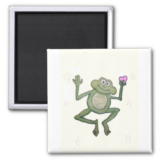 Funny Little Jumping Frog Holding Pink Heart Square Magnet
