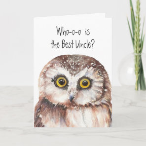 Funny Little Owl Best Uncle Birthday Bird Humour Card
