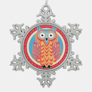 Funny Little Owl Cute and Colorful Christmas Snowflake Pewter Christmas Ornament