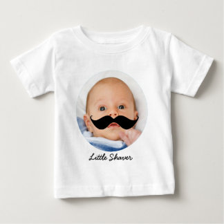 Funny Little Shaver Mustache Custom Photo Baby T-Shirt