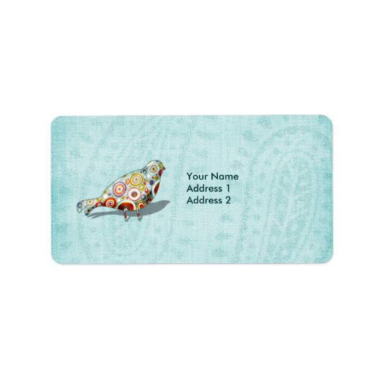 Funny Little Whimsical  Bird Personalised Label