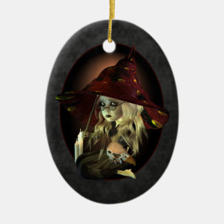 Funny Little Witch Learning Spells Christmas Ornament