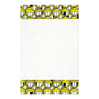 Funny Little Yellow Smiley Faces Pattern Personalised Stationery