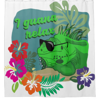 Funny Lizard Iguana Relax Colorful Shower Curtain