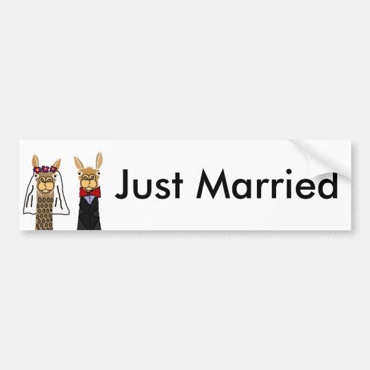 Funny Llama Bride and Groom Wedding Art Bumper Sticker