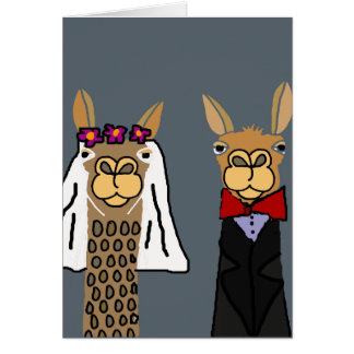 Funny Llama Bride and Groom Wedding Art Card