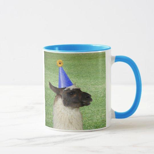Funny Llama in Party Hat mug