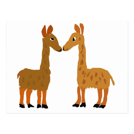Funny Llama Love Primitive Art Postcard