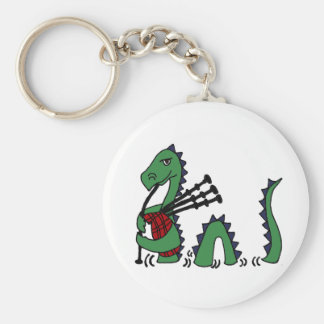 Funny Loch Ness Monster Playing Bagpipes Basic Round Button Key Ring