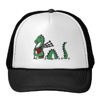 Funny Loch Ness Monster Playing Bagpipes Trucker Hat