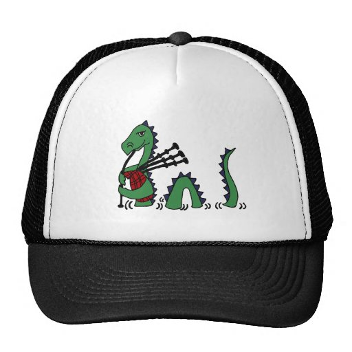 Funny Loch Ness Monster Playing Bagpipes Mesh Hats