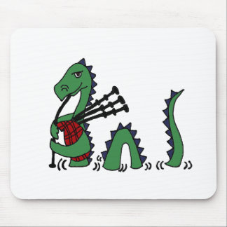 Funny Loch Ness Monster Playing Bagpipes Mouse Pad