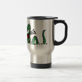 Funny Loch Ness Monster Playing Bagpipes Stainless Steel Travel Mug