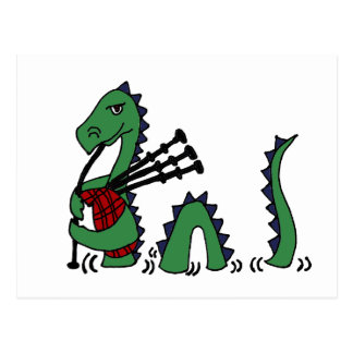 Funny Loch Ness Monster Playing Bagpipes Postcard