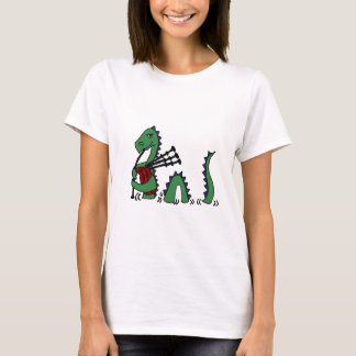 Funny Loch Ness Monster Playing Bagpipes T-Shirt