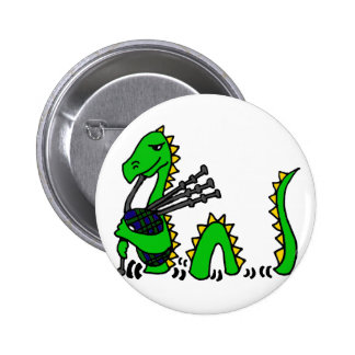 Funny Loch Ness Monster Playing Blue Bagpipes 6 Cm Round Badge