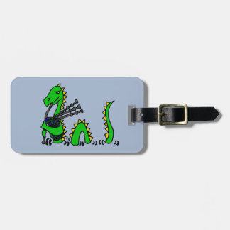 Funny Loch Ness Monster Playing Blue Bagpipes Bag Tags