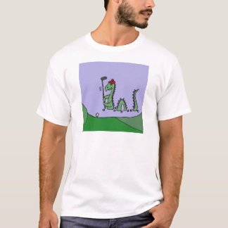 Funny Loch Ness Monster Playing Golf T-Shirt