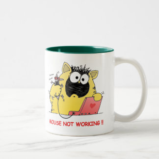 Funny LOL Cat and Mouse Two-Tone Coffee Mug
