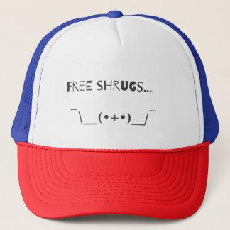 Funny Lol Free Shrugs Emoji Typography Design Trucker Hat